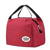 Aosbos Sac Repas Isotherme pour Déjeuner Lunch Bag Portable, Polka Dots Rouge, 6,5L