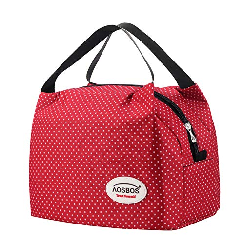 Kühltasche Klein Leicht Lunch Tasche Isoliertasche zur Arbeit Schule Faltbar Wasserdicht Reißverschluss 8,5L Punkt Rot