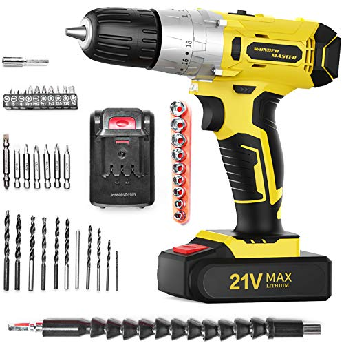 Cordless Drill Driver 21V MAX WONDER MASTER Professional Brushless Drill Driver Kit 25Nm Cordless Drill Variable Speed Builtin LED amp Reverse Contro Torque Setting with 27pcs Accessories