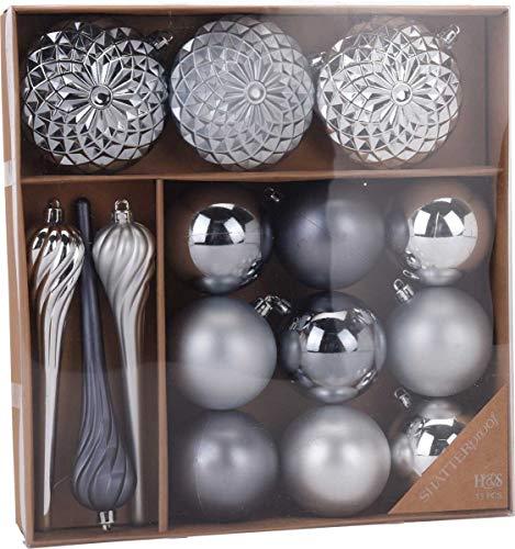 made2trade 15 teiliges Weihnachtsbaumschmuck Set - Granit Silber
