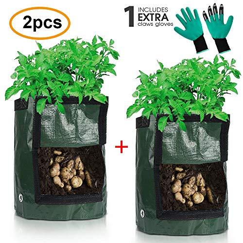 LIBRNTY 3 Stück Kartoffel pflanzbeutel,Pflanzen Tasche, Pflanztasche Pflanze Wachsende Tasche,10 Gallons Grow Bag Garten Übertopf Vliesstoff Pflanzsack mit,Geschenk + EIN Paar Handschuhe (2)