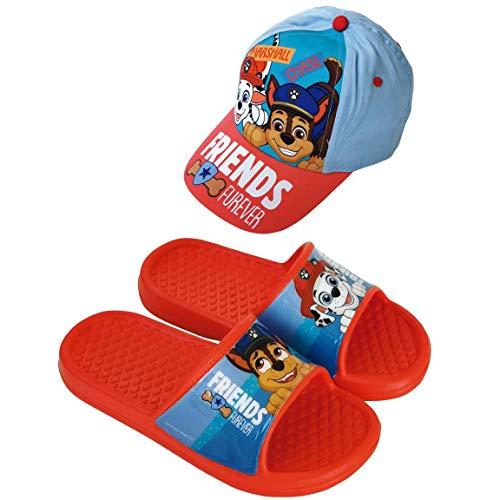 Ciabatte Paw Patrol per spiaggia o piscina + cappello Paw Patrol per bambini Rosso Size: 30/31 EU