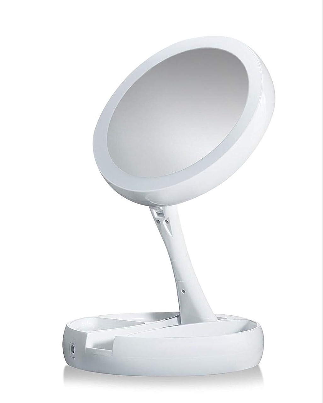 公然とチート主LED折りたたみ化粧鏡テーブルランプ収納多機能タッチドレッシングミラーHD化粧鏡