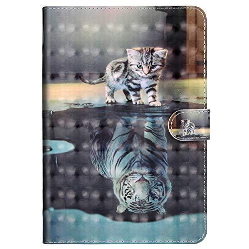 MoreChioce kompatibel mit iPad 9.7 Zoll 2018/2017 Hülle, 3D Tiger Katze Muster Leder Flip Stand Tablette Case Brieftasche mit Auto Sleep/Wake Funktion kompatibel mit iPad 9.7 2018/2017,EINWEG