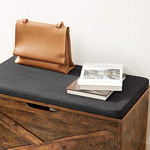 VASAGLE Schuhbank, Sitztruhe, Aufbewahrungsschrank, mit Polsterung, 76 x 40 x 48 cm, Landhaustil, vintagebraun LHS056X01 - 5
