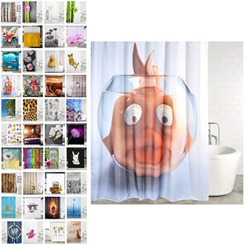Sanilo Duschvorhang, viele schöne Duschvorhänge zur Auswahl, hochwertige Qualität, inkl. 12 Ringe, wasserdicht, Anti-Schimmel-Effekt (Goldfisch, 180 x 180 cm)