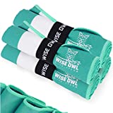 Wise Owl Outfitters Gym Towels - Microfiber Quick Dry Workout Towel - Sports Travel Sweat Sport Athletes Men Women - Lightweight Compact Super Absorbent - 4 Pack Green