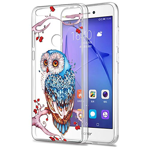 Funda Huawei P8 Lite 2017, Eouine Cárcasa Silicona 3D Suave Gel TPU Transparente con Dibujos Diseño [Antigolpes] de Protector Fundas para Movil Huawei P8Lite 2017-5.2 Pulgadas (Búho Colorido)