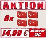 generisch Magnetfahne Sets Deutschland Türkei Russland Italien Fahne 21x15 cm Automagnet Flagge WM EM Fanartikel Fussball Handball Olympia (Türkei 8 Set)