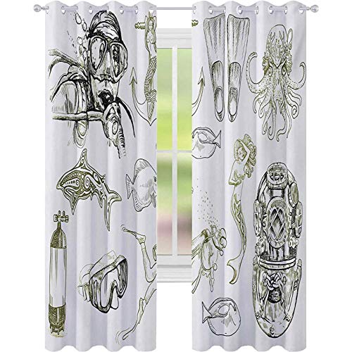 cortinas de la ventana, La vida de acuático temático marino sirena snorkel pulpo bosquejo diseño, W52 x L63 ojales cortinas para tratamiento de ventanas, verde oliva blanco