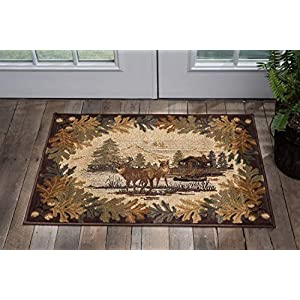 Oak Deer Brown 2×3 Scatter Mat Area Rug Cabin for Hallway, Walkway, Entryway, or Foyer – Lodge, Novelty Farmhouse Rugs & Carpets