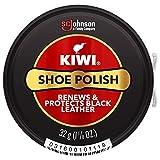 KIWI Shoe Polish, Black, Renews & Protects Black Leather - Shine, Nourishment & Long Lasting Water Protection, Stain & Scuff Coverage, 2.5 OZ Metal Tin (Pack of 3)