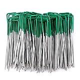 MINSHAM 50 unidades de Grapas en forma de U de para Jardín, Césped Artificial, Telas y Mallas - Mitad de Color Verde - Metálicas - Galvanizadas Sumergidas en Calor