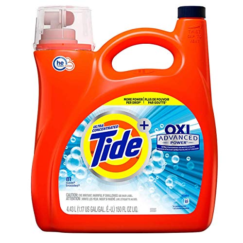 Tide Oxi + Advanced Power Ultra Concentrate, High Efficiency Turbo Clean, Liquid Laundry Detergent 150 Fl.Oz / 4.43 L - 81 Loads, Extra Stain Removel for Whites & Color