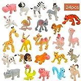 OOTSR 24Pcs Mini plástico Animales de Granja y Animales Salvajes de la Selva Juguetes Figuras para niños Aprendizaje Playset Educativo Favores de Fiesta Bolsas de llenado Regalos para niños y niñas