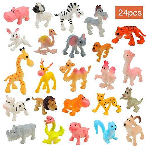 OOTSR 24 Stücke Mini Kunststoff Nutztiere und Wilde Dschungeltiere Spielzeugfiguren für Kinder Lernen Pädagogisches Spielset Party Favors Badespielzeug Goody Bag Füllstoffe für Kinder