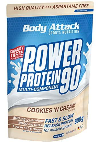Body Attack Power Protein 90, 5K Eiweißpulver mit Whey-Protein, L-Carnitin und BCAA für Muskelaufbau und Fitness, Made in Germany (Cookies n Cream, 500g)