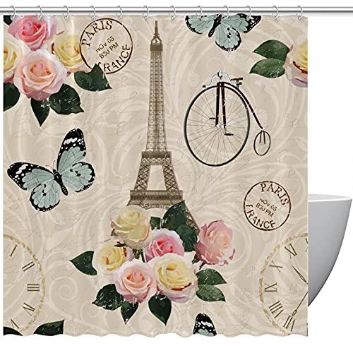 MUMIMI Juego de cortinas de ducha con ganchos, resistente al agua, cortina de baño para hotel, torre Eiffel de París, flores, mariposas, 182,88 x 183 cm