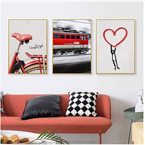 Poster Vintage Retro Rode Fiets Trein Canvas Posters en Prints Abstract Wall Art Foto voor Woonkamer Woondecoratie-50x70cmx3pcs-Geen Frame