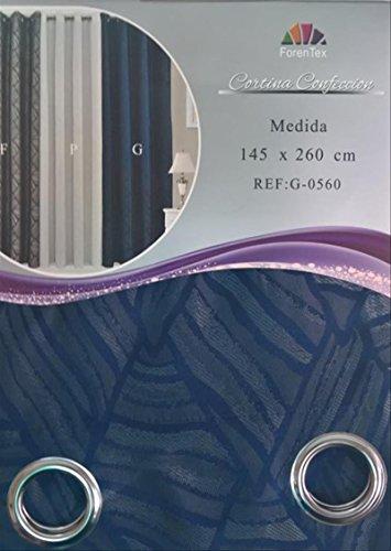 ForenTex - Cortina Semi-Opaca (G-0560), Azul, 145 x 260 cm, Curtain Aislante de Calor y Frio, reducción Ruido, Anti Polvo, Acabados ollaos Acero