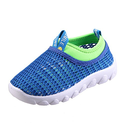CIOR Toddler Kids Water Shoes Breathable Mesh Running Sneakers Sandals for Boys Girls Running Pool Beach U420STWX001-Blue-22