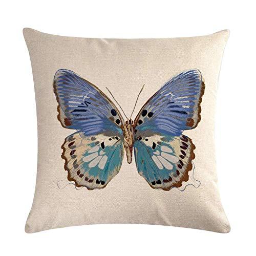 Zlxiong patrón de mariposa algodón lino manta almohada funda cojín cojín funda funda almohada almohada almohada cojín S
