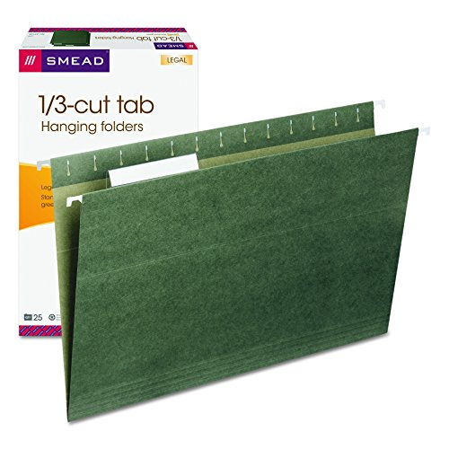Smead Hanging File Folder with Tab, 1/3-Cut Adjustable Tab, Legal Size, Standard Green, 25 per Box (64135)