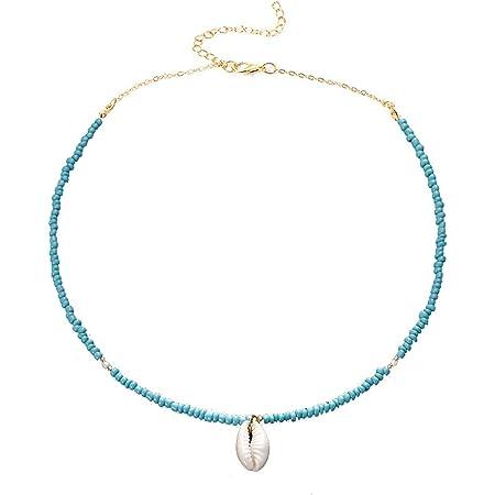Yakiki - Gargantilla de estilo bohemio con colgante de concha de color turquesa y cadena de cuentas para mujer