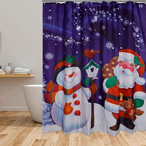 Weihnachtsduschvorhang Schneemann Duschvorhang Weihnachtsmann Winter Schneeduschvorhang, 12 Haken, Duschraum, Badewanne Dekor (180cm x 180cm)