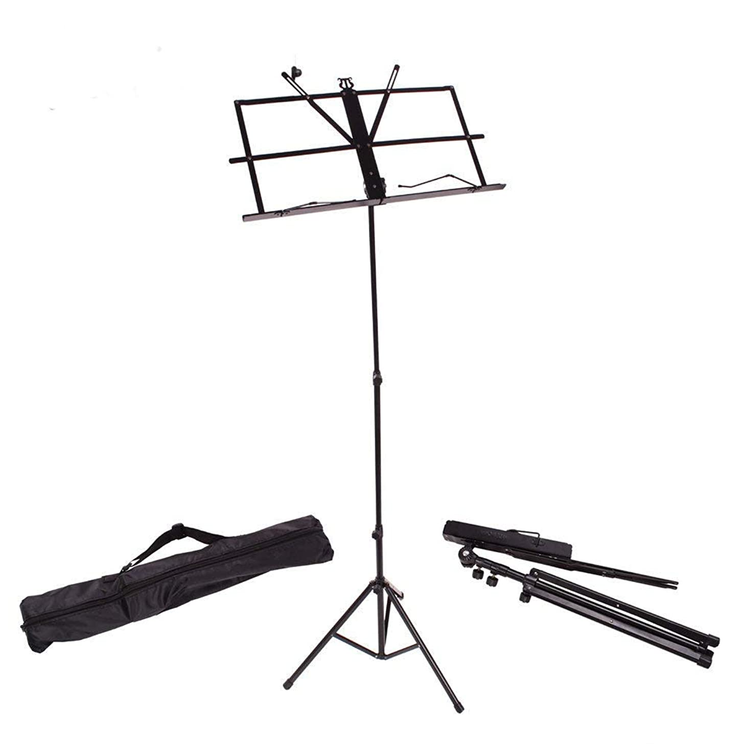 Glarry Folding Music Sheet Stand With Carrying Bag Portable Adjustable Music Stand For Music Instrument Books