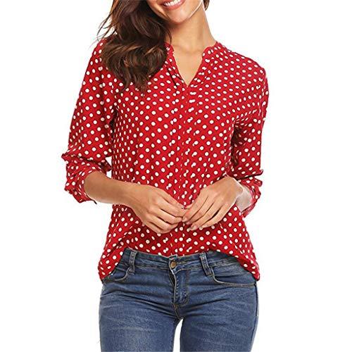VEMOW Casual Blusa de Manga 3/4 con Lunares de Mujer Poliéster Tops para Mujer Trabajo Informal de Oficina Camiseta con Cuello en V Camisas Blusa(Rojo,L)