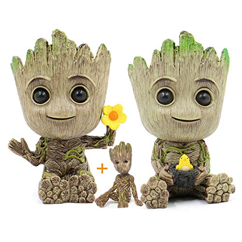 Hawofly Baby Groot blumentopf Mit Drainage Loch, Innovative Action-Figur für Pflanzen,Stifte,Desktop-Dekoration, Outdoor Indoor Ornament Büro Party Weihnachten (Hühnerstall + Blümchen)