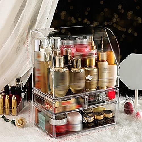 XHXH Caja de almacenamiento de maquillaje y joyas, acrílico, organizador de maquillaje, soporte para pintalabios, soporte para maletas, cristal transparente con tapa a prueba de polvo