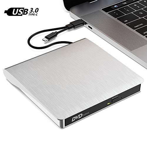 TATE GUARD Externes CD-DVD-Laufwerk mit USB 3.0/2.0 & Typ C-Anschluss Tragbarer CD-/ RW- / DVD-/RW-Brennerleser Spieler Hochgeschwindigkeitsdatenübertragung für WIN7/ 8/10/ XP PC Laptop Desktop M'ac