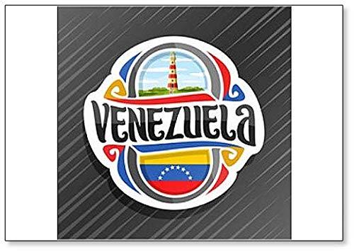 Venezuela, Leuchtturm in Punta Zaragoza mit Venezuela-Flagge, klassischer Kühlschrankmagnet