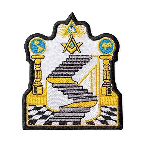 Masonic Emblem Embroidered Patch Iron On (3.2' × 3.8')