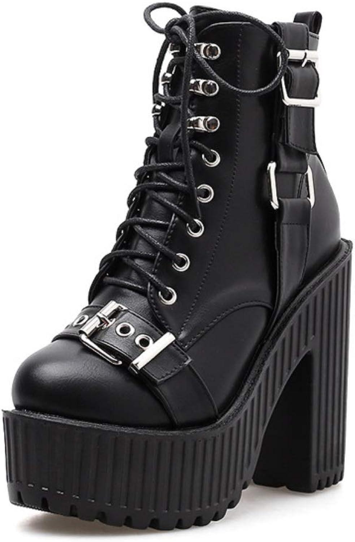 Women Ladies Gothic Rock Punk Buckle Heels Platform Ankle Boots Women Block Chunky Heels Fashion Mid Calf Boots Solid Rivet Short Boots