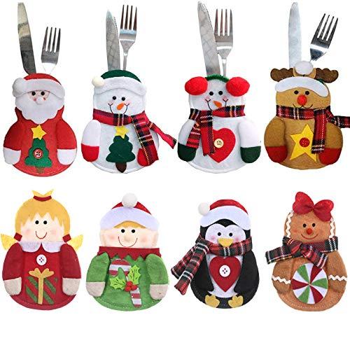 Gohist 8 Stücke Weihnachten Besteckhalter Küchenbesteck Weihnachtsmann Besteckbeutel Taschen Messer Gabeltasche,8 Verschiedene geformt Weihnachten tischdeko Besteck Party Dekoration