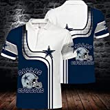 BINGFENG NFL T-Shirts Dallas Cowboys Men Football Américain Maillots Polo Shirts pour Les Hommes Et Les Femmes T-Shirt Rugby Football Supporters Manches Courtes White+Blue-XXXL