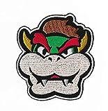 Parche bordado para la cara de Bowser con plancha para disfraz cosplay Mario Kart / Snes / Mario World / Super Mario Brothers / Mario Allstars
