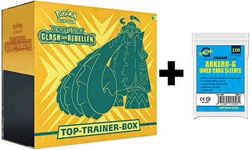 A Pokemon Clash der Rebellen Top Trainer Box DEUTSCH (Schwert & Schild) + Arkero-G Standard Soft Sleeves (100 Kartenhüllen)