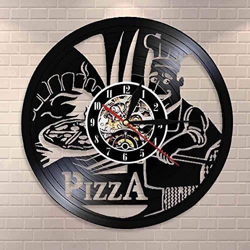 WZCXYX Orologio da Parete in Vinile Orologio da Parete Pizza Time Pizzeria Gourmet Segnale da Parete Pizza House Pizza Maker Orologio da Parete Pizza Cucina Orologio da Parete Design Moderno 30CM
