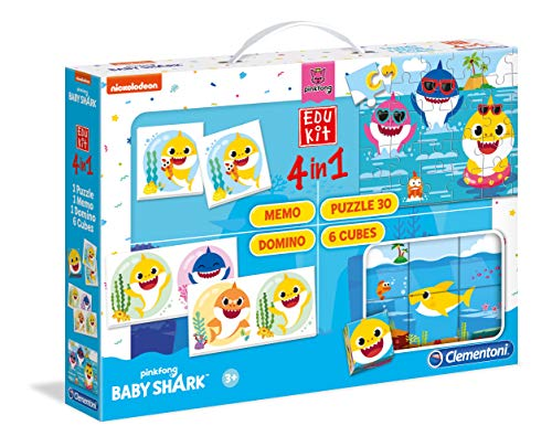 Clementoni - Edukit 4 in 1-Baby Shark (Memo, Domino, Puzzle, Würfel) - Made in Italy-Memory-Spiel, Logik, 3 Jahre, 18099