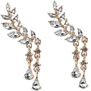 Leaves Leaf Wrap Earrings Angel Wing Ear Cuffs Climber Earrings Waterdrop Rhienstone Crystal Crawler Threader Earrings Teardrop Dainty Flower Tassel Chain for Women Lady Valentine's Day Gifts