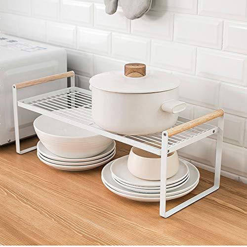 Estante organizador de cocina, estante de especias, hierro y mango de madera, apto para el hogar y la cocina, color blanco (53 x 21 x 20)