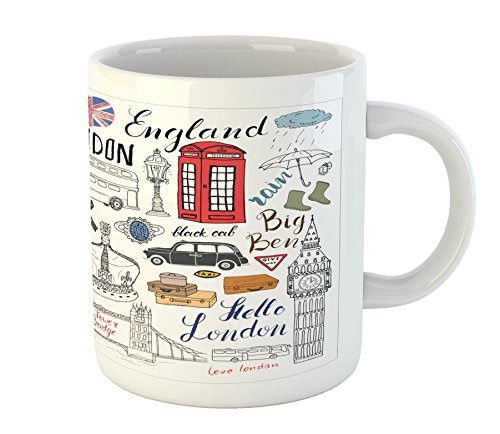 Ambesonne Hipster Mug, I Love London Double Decker Bus Telephone Booth Cab Crown of United Kingdom Big Ben, Ceramic Coffee Mug Cup for Water Tea Drinks, 11 oz, Red White