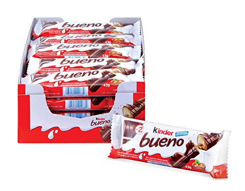 Kinder Bueno Milk Chocolate and Hazelnut Cream Candy Bar, 20 Packs, 2 Individually Wrapped Bars Per Pack
