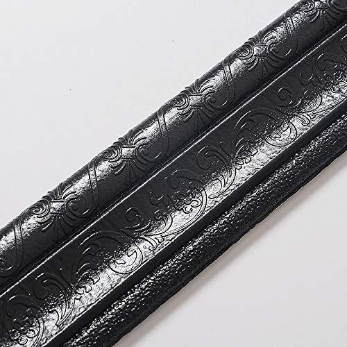ECOSWAY Wand Rand Linie Sockelleiste Bordüre 3D Muster Aufkleber Dekor Selbstklebend Wasserfest Streifen - Schwarz