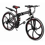 26 inch Full Suspension Mountain Bike 21 Speed Folding Bike Non-Slip Bike (C)