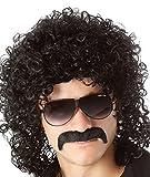 Peluca negra rizada para hombre, de estrella del rock, estilo años 70y 80, paradisfraz de Halloween, fiesta de disfraces